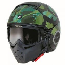 Shark Raw casco jet Kurtz black green helmet casque mimetico