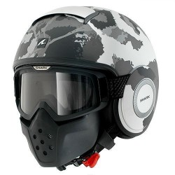 Shark Raw casco jet Kurtz white silver helmet casque mimetico
