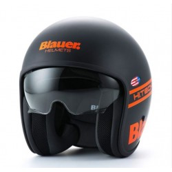 Blauer casco jet Pilot 1.1 nero opaco orange fluo helmet casque