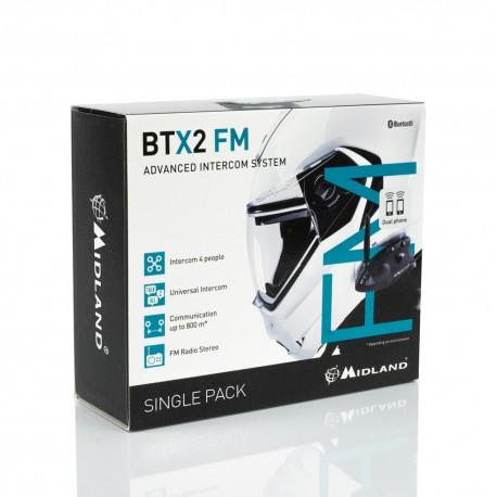 Midland BTX2-FM interfono Bluetooth casco confezione singola 800mt