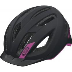 Abus casco bici Pedelec nero opaco logo fuxia con luce led