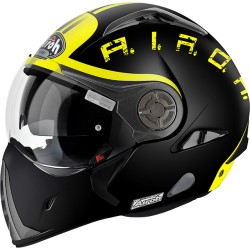 Casco Airoh J106 Smoke black matt yellow jet modulare