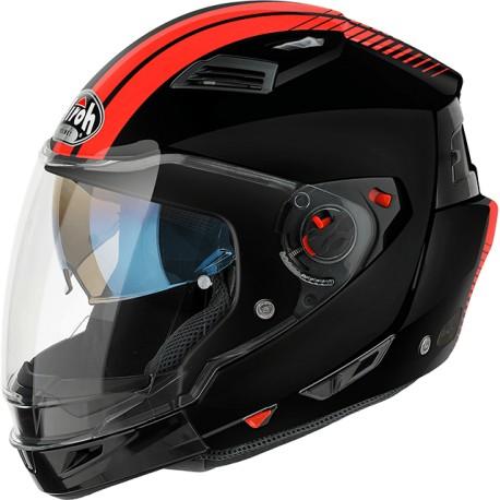 Casco Airoh Executive Stripes jet modulare black orange integrale helmet