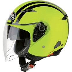 Casco Airoh City one Flash giallo fluo jet helmet bianco lucido casque