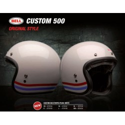 Bell Custom 500 casco jet vintage bianco Stripes casque helmet