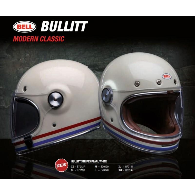 bell bullit stripes pearl white casco integrale vintage casque helmet. Black Bedroom Furniture Sets. Home Design Ideas