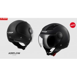 LS2 OF562 casco jet Airflow solid black matt helmet casque