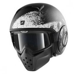 Shark Raw Outcast casco jet black white helmet casque