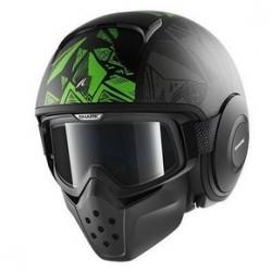 Shark Raw Dante casco jet black green helmet casque
