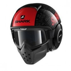 Shark Drak Raw casco jet Tribute helmet casque black red