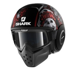 Shark Drak Raw casco jet Sanctus helmet casque black red