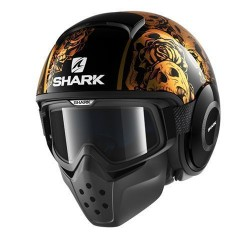Shark Drak Raw casco jet Sanctus helmet casque black gold