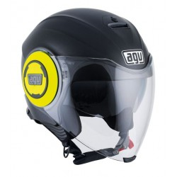 Agv casco Fluid nero opaco giallo helmet casque jet moto