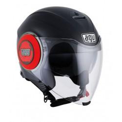 Agv casco Fluid nero opaco rosso helmet casque jet moto