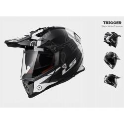 LS2 MX436 Trigger casco Pioneer enduro helmet casque nero-bianco