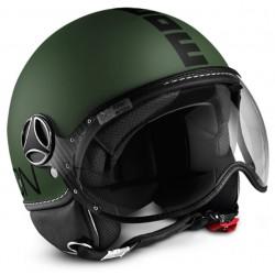 Momodesign casco moto Fgtr Classic verde militare decal nera