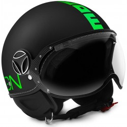 Momodesign casco jet Fgtr Fluo nero opaco decal verde