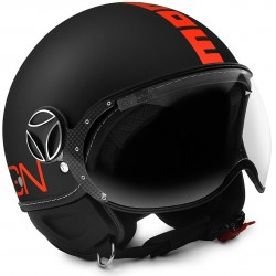 Momodesign casco jet Fgtr Fluo nero opaco decal arancio