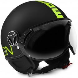 Momodesign casco jet Fgtr Fluo nero opaco decal gialla