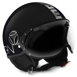 Momodesign casco jet Fgtr Evo nero lucido decal cromo