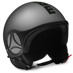 Momodesign Minimomo-S Casco casque jet argento decal nera