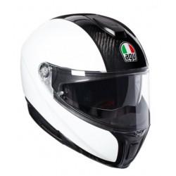 Agv sportmodular casco modulare moto carbonio lucido bianco