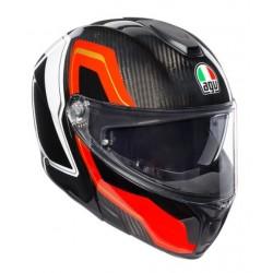 Agv sportmodular casco modulare moto carbonio sharp carbon rosso