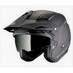 MT helmets District SV casco moto nero opaco jet con occhialino solare