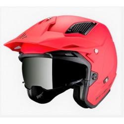 MT helmets District SV casco moto rosso opaco jet con occhialino solare