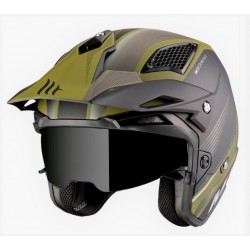 MT helmets District SV casco post nero opaco verde jet con occhialino solare