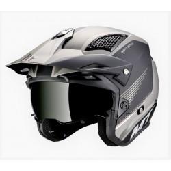 MT helmets District SV casco post nero opaco silver jet con occhialino solare