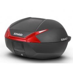 Shad bauletto SH47 nero rosso moto scooter litri 47 + piastra universale